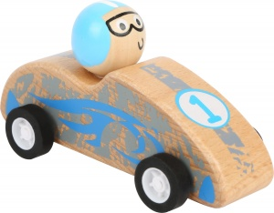 Small Foot wooden racecar blank/blue 10 x 4,5 cm