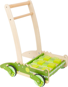 Small Foot loopwagen krokodil junior 50 cm hout groen/naturel