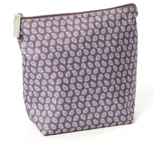 Smallstuff toiletry bag large leaves 24 x 22 cm aubergine