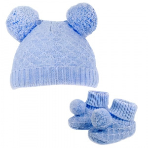 Soft Touch baby hat and socks PomPom boys polyester blue