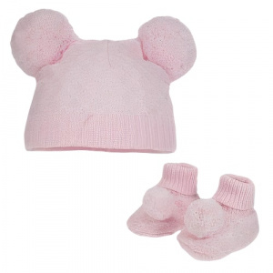 Soft Touch baby hat and socks PomPom girls polyester pink