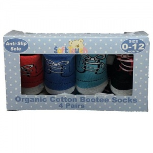 Soft Touch baby socks non-slip boys 0-12 months 4-piece