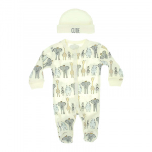Soft Touch box suit with hat Safari boys cream/grey