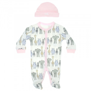 Soft Touch box suit with hat Safari girls white/pink