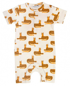 Trixie onesie Cheetah Kurzarm-Baumwolle weiß/orange