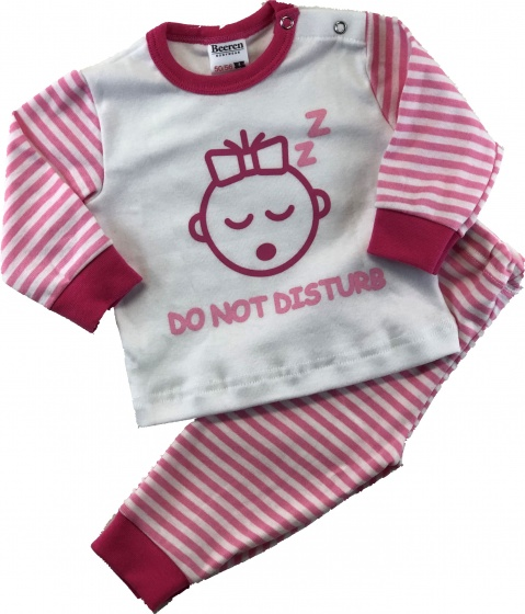 Beeren babypyjama Do not disturb roze/wit