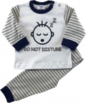 Beeren babypyjama do not disturb grijs/wit