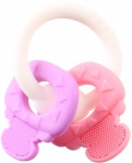 Johntoy bijtring 11 cm roze/paars/wit